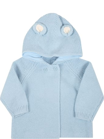 Stella McCartney Kids Light Blue Cardigan For Baby Boy With Ears