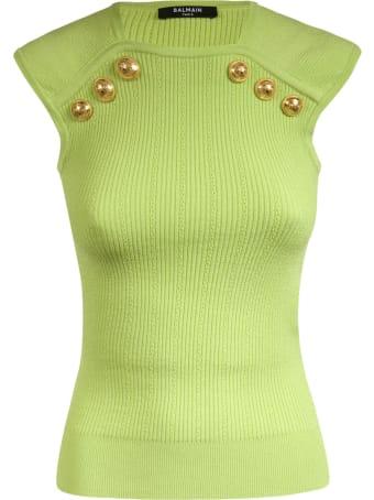 Balmain Ribbed Embellished Top