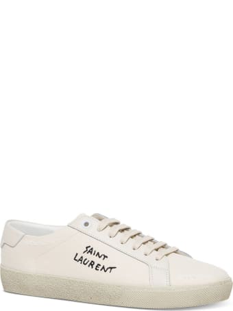 Saint Laurent Court Sl / 06 Sneakers With Leather And Fabric Embroidery
