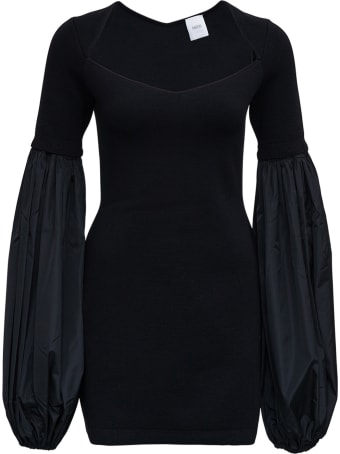 Patou Black Wool Dress With Balloon Sleeves