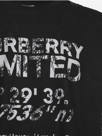 Burberry Cotton T-shirt With Contrasting Logo Print And Lace Inserts