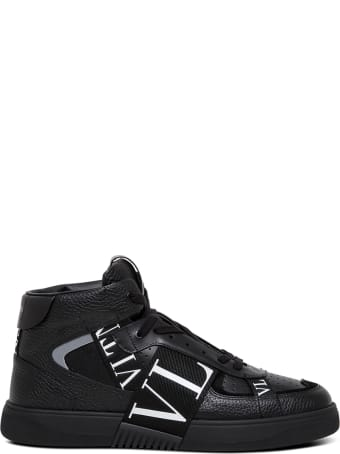 Valentino Garavani Black Leather Sneakers With Vl7n Logo