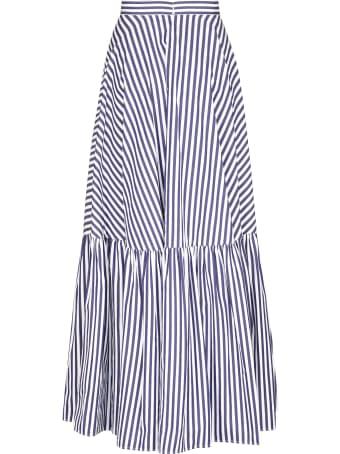 Plan C Striped Cotton Maxi-skirt