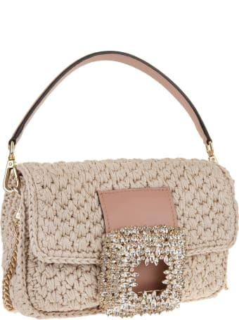 Gedebe Sand Medium Mia Crochet Bag With Crystals