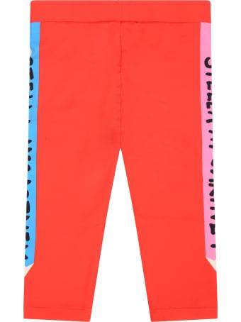 Stella McCartney Kids Red Leggings For Girl With Pencils