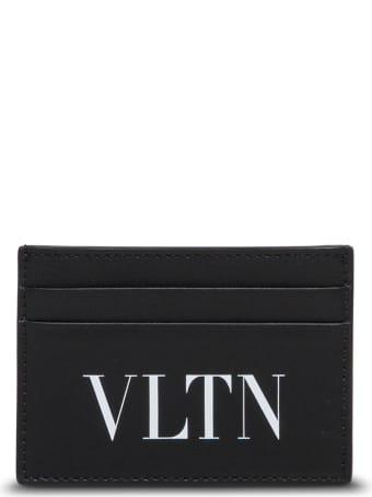 Valentino Garavani Brown Leather Card Holder With Logo