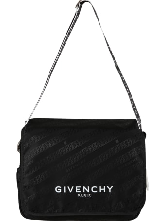 Givenchy Black Bag For Babykids With White Logo
