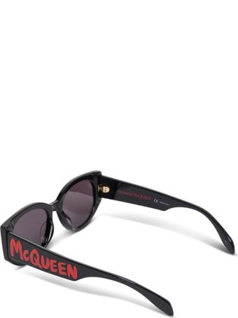 Alexander McQueen Black Acetate Sunglasses With Logo Print