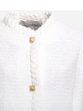 Valentino Cotton Tweed Jacket With Roman Stud Details
