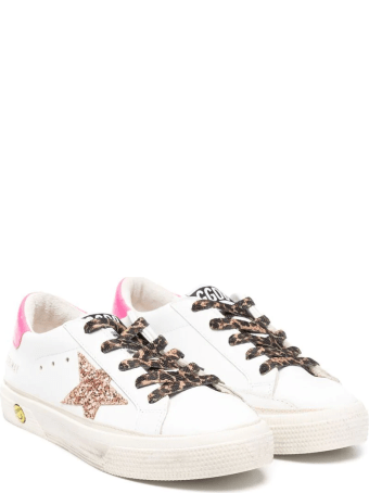 Golden Goose Kid White Super-star Sneakers With Fuchsia Spoiler, Leopard Laces And Pink Glitter Star