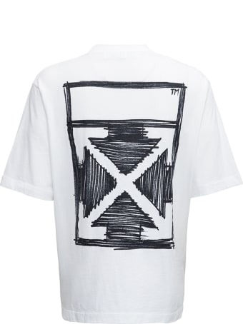Off-White White Cotton T-shirt With Negative Mark Print