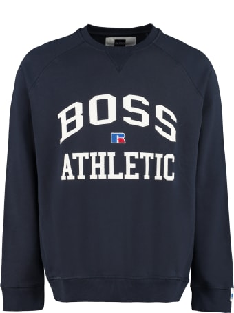 Russell Athletic Cotton Crew-neck Sweatshirt With Logo - Boss X Russell Athletic