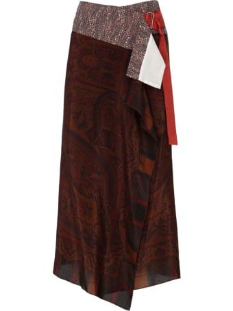 Ibrigu Fantasy Multicolor Silk Wrap Midi Skirt