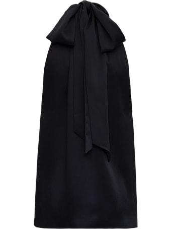 Saint Laurent Black Cotton Turtleneck Top
