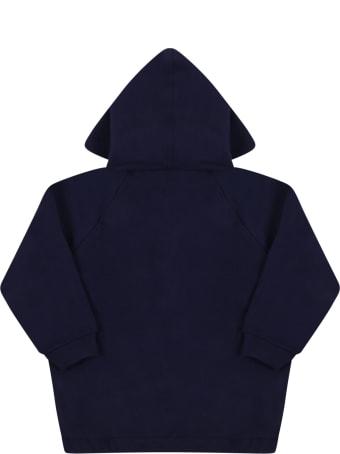 Gucci Bluw Sweatshirt For Baby Boy With Web Detail