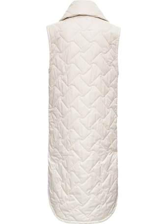 Tela Birillo Long Down Jacket In Beige Quilted Nylon