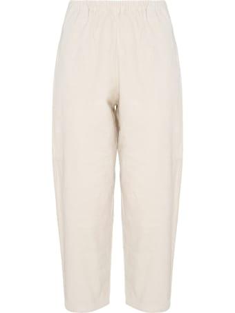 A Punto B Apuntob Butter White Cotton Cropped Pants
