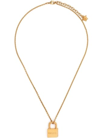 Versace Gold-colored Metal Necklace With Pendant Detail