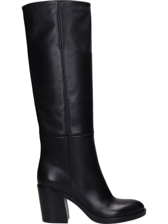 Strategia High Heels Boots In Black Leather