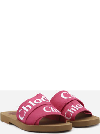 Chloé Woody Sandals In Canvas With Contrasting Logo Print