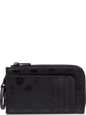 Alexander McQueen Skull Card Holder In Black Leather