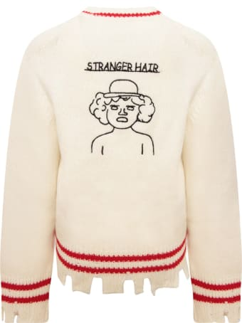 Riccardo Comi Ivory Sweater With Red Details