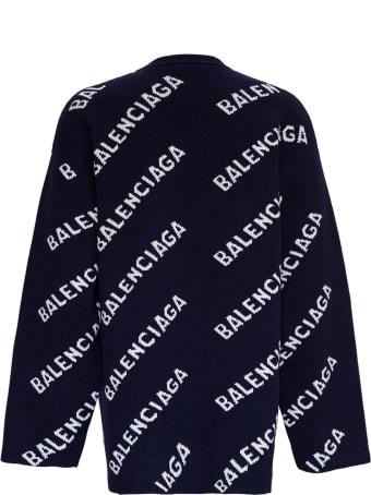 Balenciaga Wool Blend Sweater With Allover Logo