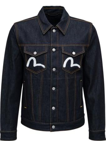 Evisu Blue Denim Jacket With Logo Print