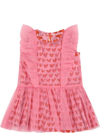 Stella McCartney Kids Pink Dress For Baby Girl With Hearts