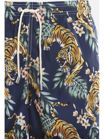 MC2 Saint Barth Swimsuit With All-over Tropical Tiger Print