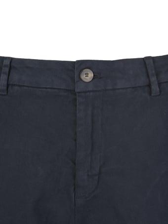 Cruna Marais Slim Fit Trousers In Night Blue Stretch Cotton Gabardine