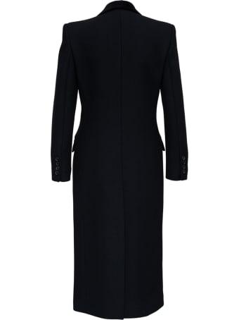 Saint Laurent Double-breasted Black Gabardine Long Coat