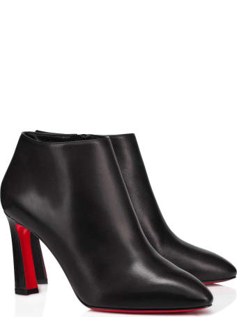 Christian Louboutin Black Leather Eleonor 85 Ankle Boots