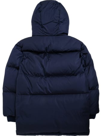 Gucci Blue Nylon Down Jacket With Logo Patch