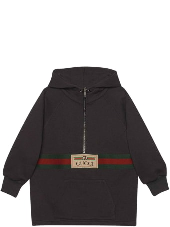 Gucci Black Sweatshirt With Frontal Zip And Pocket, Hood And Long Sleeves