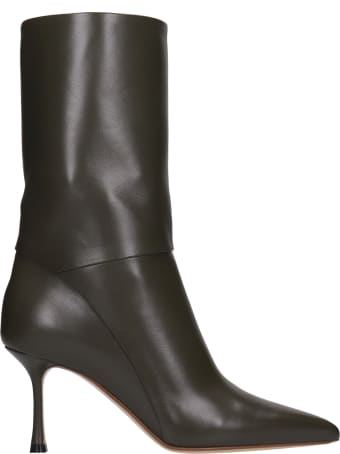 Francesco Russo High Heels Ankle Boots In Green Leather