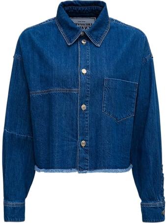 Trussardi Cropped Shirt In Blue Denim
