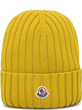 Moncler Yellow Wool Hat With Logo Patch