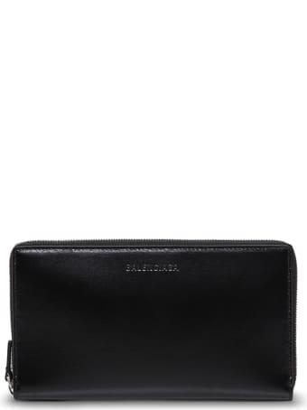 Balenciaga Essential Black Leather Wallet With Logo