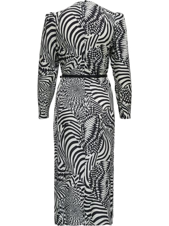Merci Black And White Geometric Printed Dress With Belt