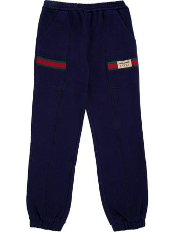 Gucci Blue Cotton Jogger With Web Details