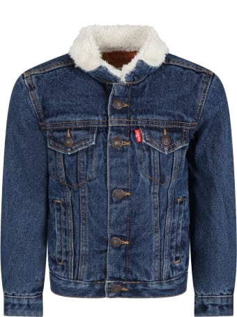 Levi's Blue Jacket For Kids With Red Logo