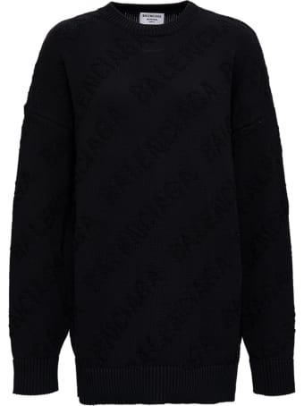 Balenciaga Black Cotton Sweater With Jacquard Logo