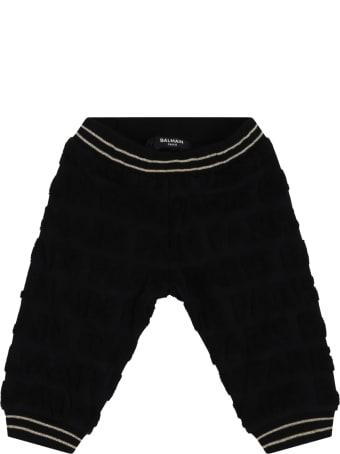 Balmain Black Trousers For Babykids With Logo