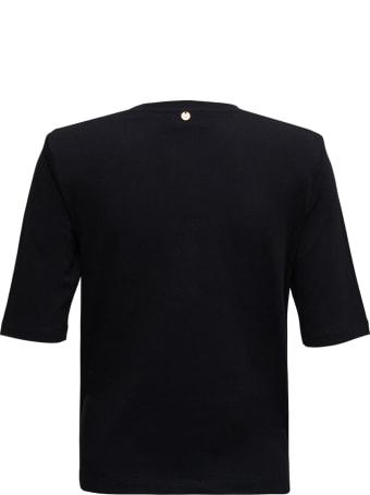 Liu-Jo Black Cotton T-shirt With Chain Detail