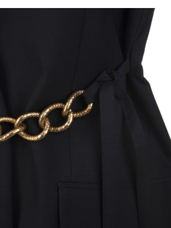 Givenchy Woman Black Lightweight Wool Sleeveless Jacket With Chain