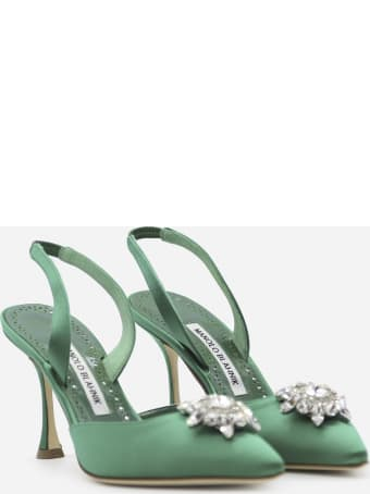 Manolo Blahnik Cassina Slingback Décolleté In Silk Satin Embellished With Crystals