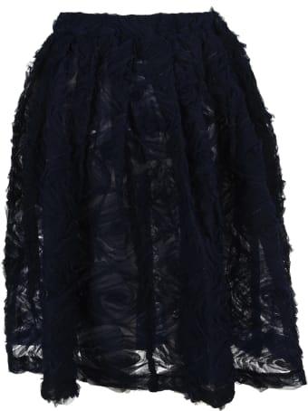 Comme Des Garçons Girl Navy Ruffled-detail Tulle Skirt