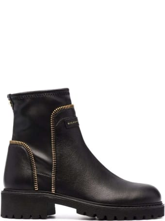 Giuseppe Zanotti Black Leather Ankle Boots With Logo
