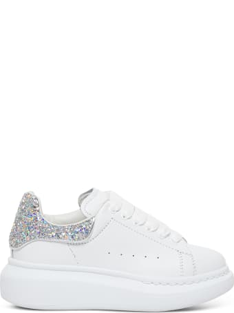 Alexander McQueen Oversize Leather Sneakers With Glitter Inserts